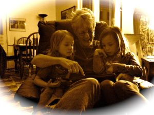 Peggy with granddaughters